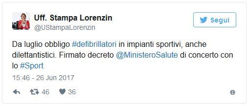 Tweet Lorenzin